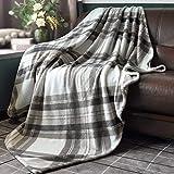 HOMRITAR Flannel Blanket with Plaid, Lightweight Cozy Throw...