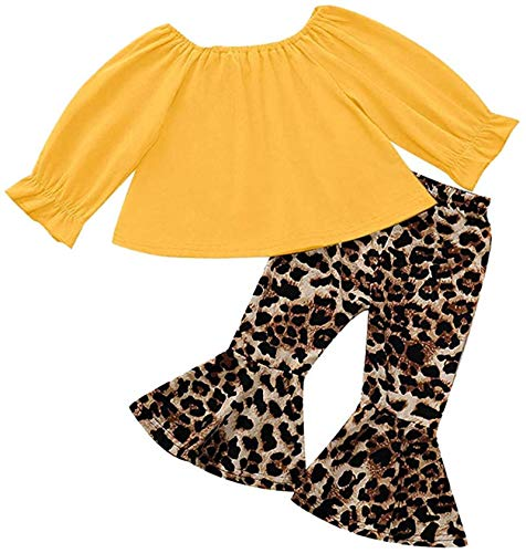 Toddler Baby Girl Leopard Outfits Kids Off Shoulder Crop Tops Shirt+Bell-Bottom Pants Fall Clothes Set,Yellow a,18-24 Months