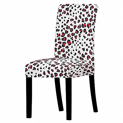 JRLTYU Fundas de sillas Flor roja Negra Blanca Fundas de Silla de Comedor Spandex Fundas Protectoras para Sillas Desmontable para Boda,Hogar,Restaurante Juego de 2 Piezas