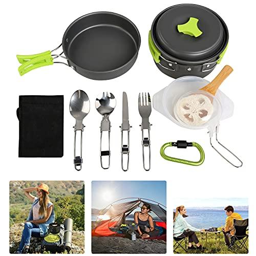 BelleStyle Utensilios Cocina Camping, 1-2 Personas Ligero y Portátil Utensilios de Cocina Camping Pots Set para Exteriores Cámping Mochilero Excursionismo Picnic (15 Piezas)