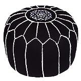 Asiento Redondo Pouf en algodón Chems Negro ø 45cm Sin relleno | Cojín de asiento Cojín de suelo...