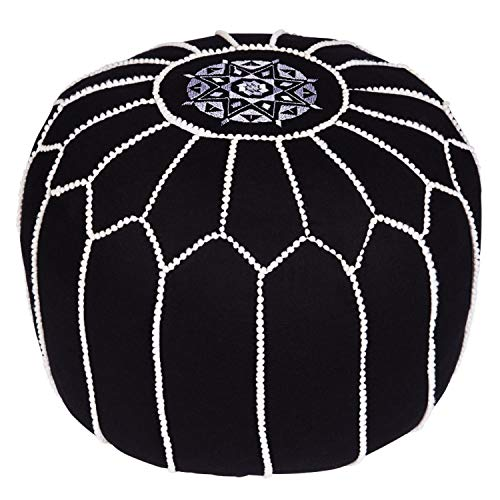 Moroccan Round Pouffe Puff Chems Black ø 45cm | 100% Cotton Large Pouffes and Footstools embroidered without filling | Indian Design Foot Stools as Home Garden Deco or Yoga meditation cushions