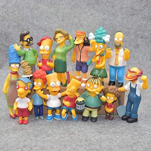 YDDM 14 Stücke Comicfiguren Figure Simpsons Familienporträt von Simpsons PVC Anime Syatue Spielzeug Simpson Muster Puppe 5-8 cm