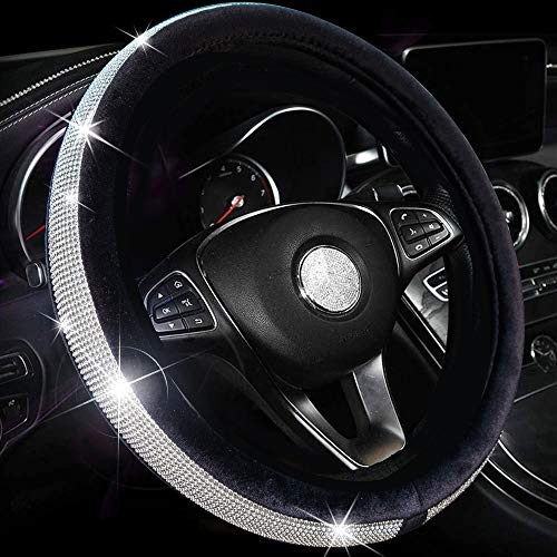 Valleycomfy Crystal Diamond Steering Wheel Cover Soft Velvet Feel Bling Steering Wheel Cover for Women Universal 15 inch Plush Wheel Cover (Black)
