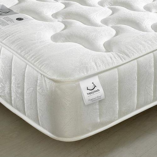 Quilted Open Coil Spring, Happy Beds Neptune Medium Tension Mattress - 4ft6 Double (135 x 190 cm)