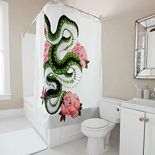 kikomia Maschinenwaschbar Duschvorhang Japanisch Schlangen Blumen Kunst Druck Bad Duschvorhang für Badezimmer white 120x200cm