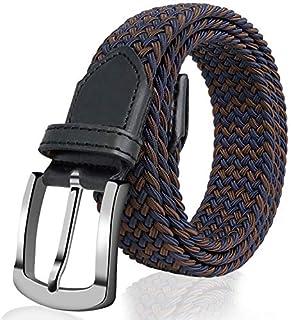 Fairwin Elastic Braided Belt, 1.3'' Wide Stretch Belt, New Buckle Fabric Woven Men/Women Novelty Belt (7 Colors)