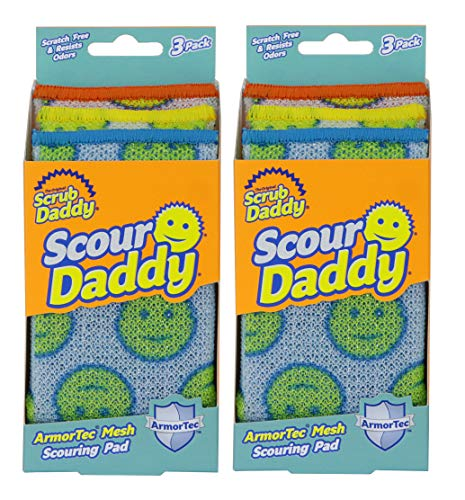 Scrub Daddy- Scour Daddy- Multisurface Scouring Pad, Absorbent, Durable, FlexTexture Sponge, Soft in Warm Water, Firm in Cold, Scratch Free, Odor Resistant, Easy to Clean 3ct (Pack of 2)