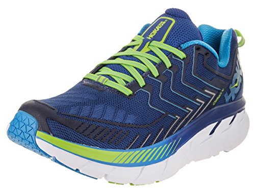 HOKA ONE ONE Men's Clifton 4 Running Shoe, True Blue/ Jasmine Green, 10M US