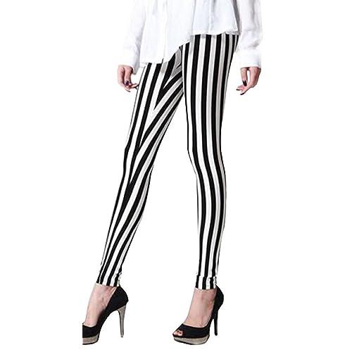 Black and White vertical striped ladies Leggings