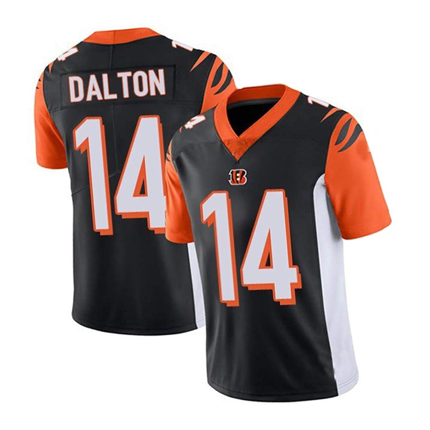 再撮り乗算コンソールダルトン (Dalton) 14#ベンガルズメンズラグビージャージー、パフォーマンスラグビージャージー-ポリエステルブラックとオレンジの半袖ポロシャツ