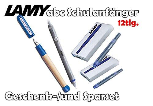 Lamy Schreiblernfüller ABC, Feder: A (blau, mit 10 Tintenpatronen & Tintenkiller B)