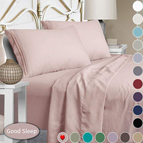 Mejoroom Bed Sheets Set,Extra Soft Luxury Egyptian Queen Size Sheets with 15-inch Deep Pocket,Premium Bedding Collection - Breathable Wrinkle Hypoallergenic - 4 Piece (Queen, Dusty Pink)