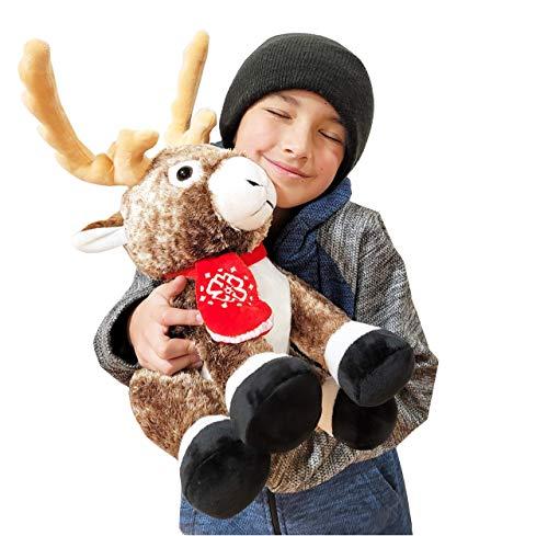 SANTA CLAUS WRITES Stuffed Animal Reindeer Plush Toy - Cuddly Christmas Toys - 2020 for Girls, Boys, Kids and Adults - 20'' Tall Reindeer Christmas Stuffed Animal
