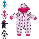 Baby Sweets Baby Overall Jumpsuit mit Kapuze für Mädchen in Grau Pink im Herz-Motiv/Babystrampler als Overall für Baby und Kleinkind für Outdoor und Indoor in Größe: 3 Monate (62)