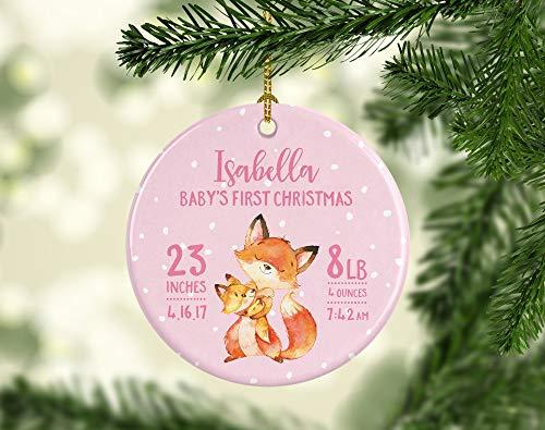 Dozili Baby Christbaumschmuck Baby Ornament Baby First Christmas Ornament Girl Personalisierte Taufgeschenk für Mädchen New Baby Ornament Fuchs
