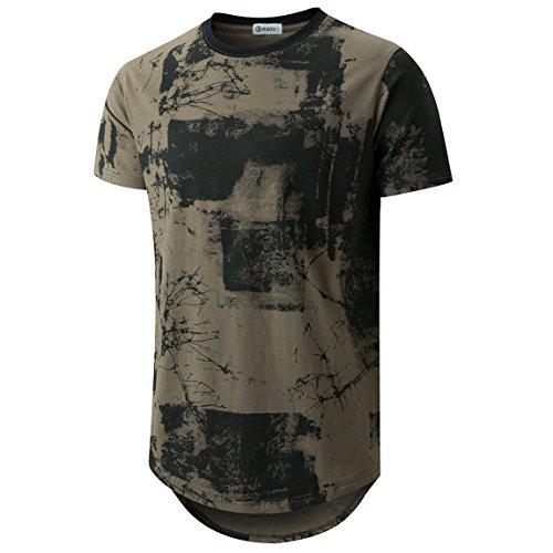 KLIEGOU Mens Hipster Hip Hop Ripped Round Hemline Pattern Print T Shirt 86 ArmyGreen L