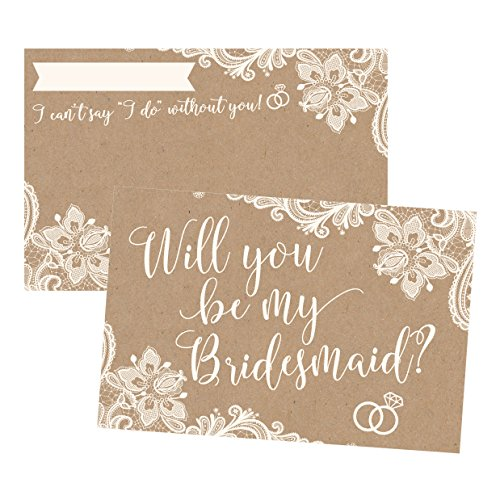 15 Will You Be My Bridesmaid Cards Kraft Lace, I Can't Say I Do Without You, Rustic Bridesmaids Proposal Note For Gifts, Blank Ask To Be Your Bridesmaids Invitations Set, Asking A Bridesmaid Invite