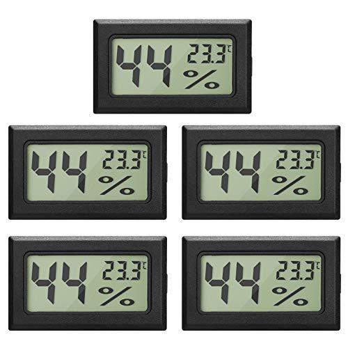 EEEKit 5-Pack LCD digitale temperatura umidità misuratore termometro, mini termometro digitale Igrometro e umidità calibro per serra/auto/casa/ufficio, nero