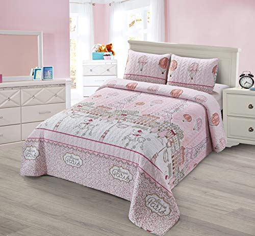 2pc Twin Size Quilt Bedspread Set Kids/Teens Girls Eiffel Tower Bonjour Paris Puddle Dog Hot Air Balloon Pink White New