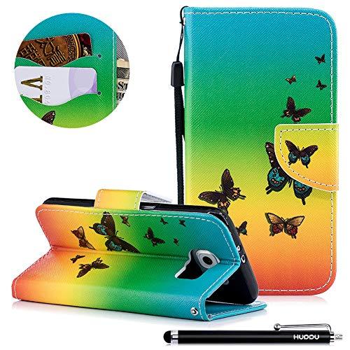 HUDDU Schutzhülle Galaxy S6, Compatible for Samsung Galaxy S6 Leder Hülle 3D Bunt Muster Tasche Kartenfächer Magnet Handyschale Klapphülle Mädchen Bumper - Regenbogen Schmetterling