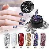 Vrenmol Lot de 6 vernis à ongles gel soak off UV LED diamant vernis à ongles paillettes Nail Art Kit de manucure 8 ml