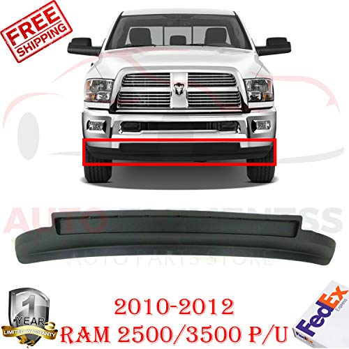 New Front Bumper Lower Valance Air Dam Textured Black For 2010-2012 Dodge Ram 2500 3500 Outdoorsman/SLT/Standard & Extended Crew Cab Pickup Direct Replacement CH1090141 68045708AA