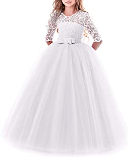 5002d5c637c IWEMEK Flower Girls 3 4 Sleeve Floral Lace Tulle First Communion Pageant Dresses  Kids Big