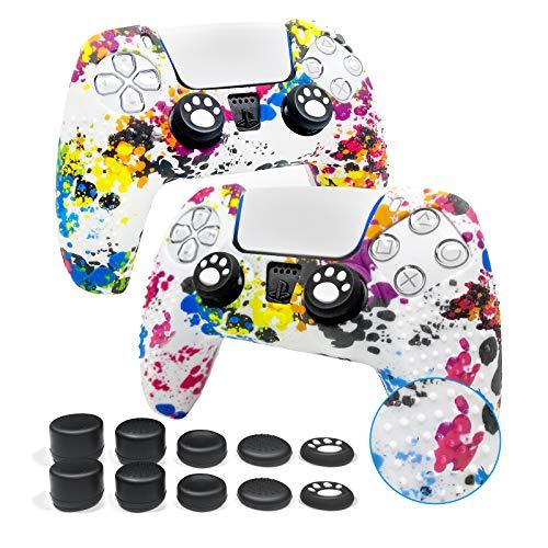 Funda protectora antideslizante de silicona para mando de PS5 DualSense X2, con 10 cabezales para mando de PS5 de transferencia de agua (pintura pulverizada), 1 par