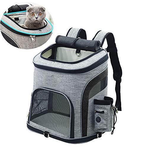 01 huisdier rugzak, opvouwbare waterdichte hond kat rugzak, puppy rugzak met ademend gaas, top opening, zonwerend gordijn, voor reizen camping buiten, voor huisdieren tot 8 KG, Zwart