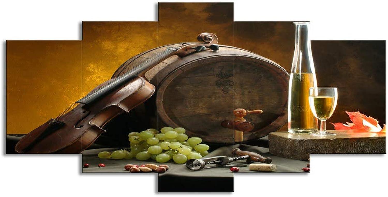 ChuangYing 5 Pieces of Wine Barrel Wall Sticker Grape Violin Home Art Decorative Wall Sticker