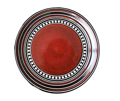 DONG 1pcs Kiln Baie vitrée Circle Line Ronde Arts de la Table de Plat en céramique Steak Occidental Salade gâteau Dessert Vaisselle Sushi,Une,27cm