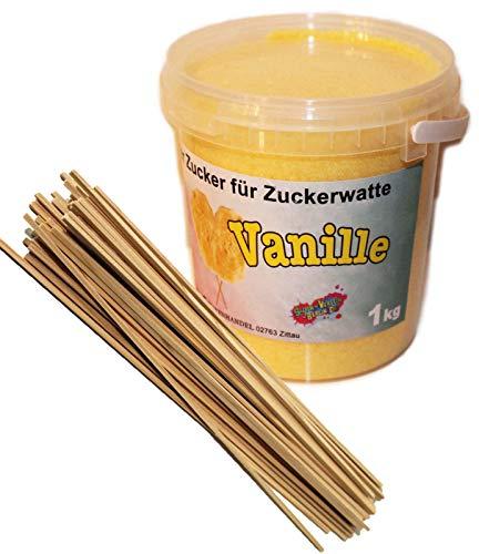 1 Kg Aromatisierter Zucker für bunte Zuckerwatte/Popkorn (Vanille) + 50 Zuckerwattestäbe 30cm Vierkant