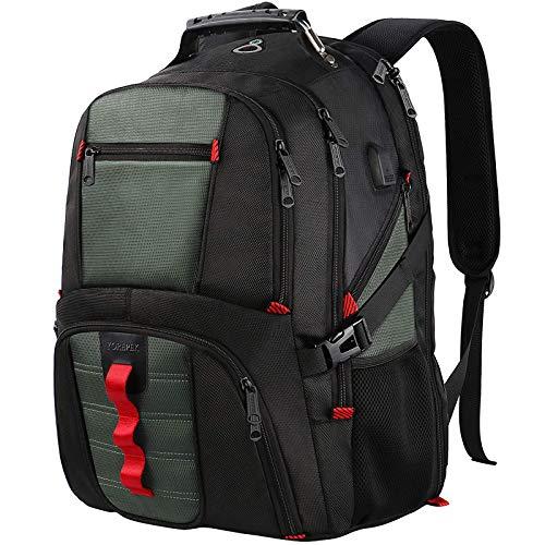 YOREPEK TSA - Mochila duradera para portátil con puerto de carga USB, resistente al agua, bolsa de ordenador para colegio, para mujeres y hombres, para portátiles de 17 pulgadas, gris oscuro