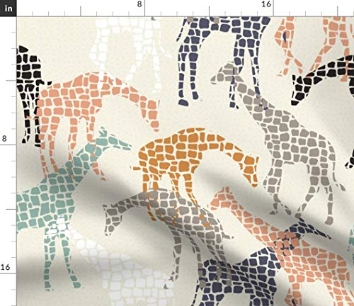 Spoonflower Fabric - Africa Giraffe Tribal Animal Mosaic African Animals Printed on Fleece Fabric by The Yard - Sewing Blankets Loungewear and No-Sew Projects