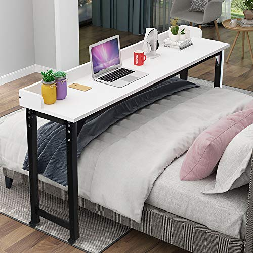Overbed Table Laptop Desk – Bizzoelife 71 Inches Mobile Computer Desk Rolling Laptop Cart Heavy Duty Metal Leg with Wheels for Bed Sofa (Black)