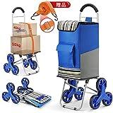 キャリーカート ショッピングカート 買い物カート ハンドキャリー大容量75L ショッピングバッグ 折り畳み 敬老の日 ブルー 贈り物: 荷台用 ゴムひも