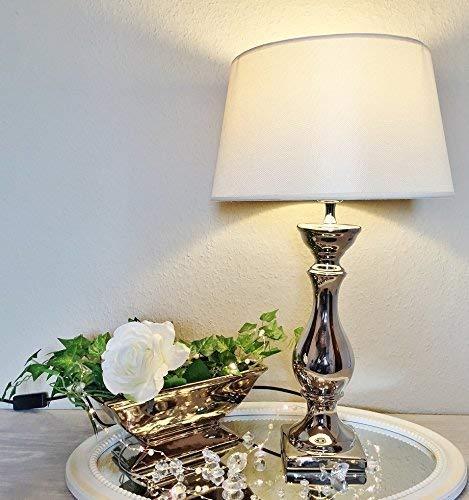 DRULINE Lovely Keramik Tischlampe Tischleuchte Nachttischlampe Lampe Leuchte Lampenfuß 46 cm Weiß