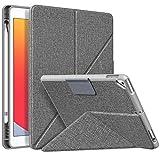 MoKo Hülle Kompatibel mit iPad 8. Gen 2020 und 7. Gen 2019, Origami Ständer Multi-Winkel Schutzhülle Stifthalter, Magnetische TPU Rückseite Cover Kompatibel mit iPad 10.2