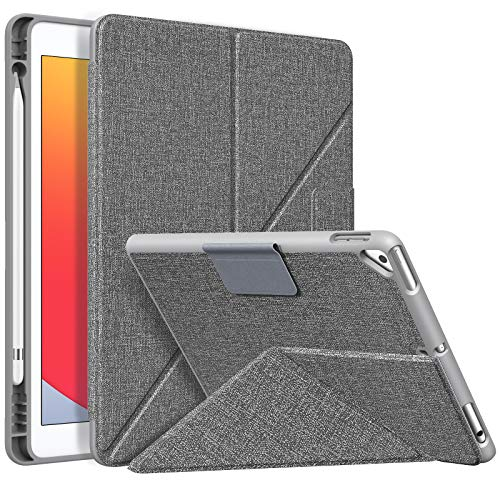 MoKo Case Fit iPad 8th Generation 2020/iPad 7th Gen 10.2-inch 2019/Air 3 10.5 2019, Origami Standing Shell Case with Pencil Holder, Multi Angle Magnetic TPU Back Cover Fit iPad 10.2 Inch, Denim Gray