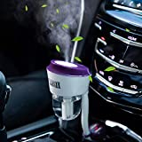 Car Humidifier Essential Oil Diffuser, Car Oil Aroma Scents Small Diffuser with Dual USB Charger Adapter, Portable Auto Shut-Off Mini Vaporizer Deffuser Cute Car Stuff Gift for Women Vehicle (Purple)