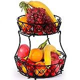 2 Tier Obst Etagere , Arbeitsplatte Metall Obstkorb Rack Obstschale, Abnehmbar Obst Halter Küche Ablagekorb,Gemüsegestell, Obst Gemüse Brot Snacks Korb