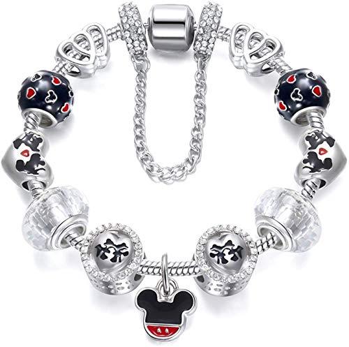 Gymqian Encantos Ajustables Pulsera Bangle Amor Cristal Flower Beads para Las Mujeres Del Regalo de la Muchacha con la Caja de la Santapia Platable Exquisito / 20cm