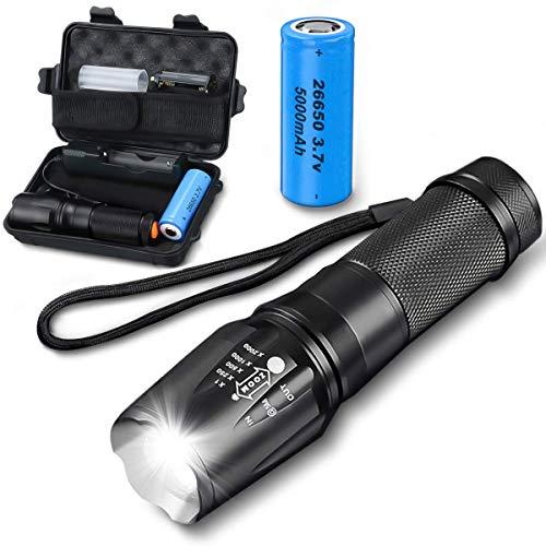 Charminer Linternas LED 5000mah,Linterna Super Brillante 4000 Lúmenes,Recargable Antorcha Táctica Militar Pequeña Linterna de Mano,Resistente al agua IPX65, 5 Modos, Con batería, para Ciclismo Camping