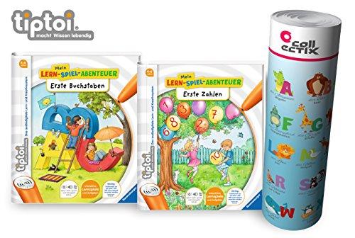 Ravensburger tiptoi ® Bücher Starterset | Erste Buchstaben + Erste Zahlen Buch + ABC Lern-Poster mit Tiere - Schule, Tip TOI, Lernen, Vorschule