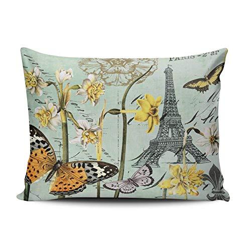 SUN DANCE Funda de cojín dorado y blanco Paris Is Always A Good Idea Funda de almohada decorativa para el hogar, 66 x 66 cm, funda de cojín