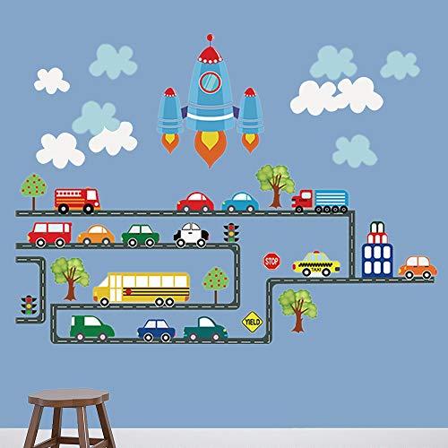 decalmile Straßen Transporte Autos Fahrzeuge Wandtattoo Raumschiff Kinderzimmer Wandsticker Wandaufkleber Babyzimmer Wohnzimmer Schlafzimmer Wanddekoration