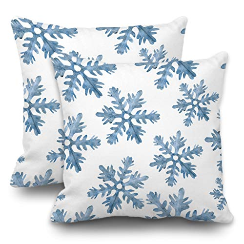 Batmerry Set of 2 Merry Christmas Decorative Pillow Covers 18x18 inch,Blue Snow Winter with Snowflakes Falling White Crystal Double Sided Throw Pillow Covers Sofa Cushion Cover