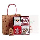 ANIMQUE Weihnachten Edition Babysocken Kinder Socken 4 Paar in Geschenkbox, 3-5 Jahre Jungen Mädchen Winter Warm Wadensocken Dicke Weich Neugeborene Kleinkind, M (Set C)