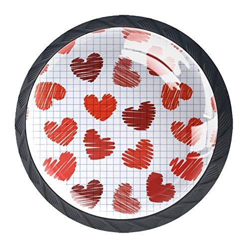 Küchenschrankknöpfe mit Blumenblättern, 4er-Pack, Format Herz, Knobs3.5 x 2.8cm/1.38 x 1.1in